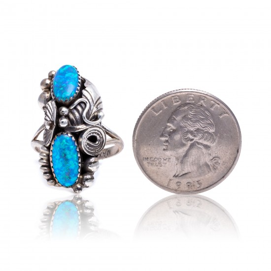 Flower and Leaf Opal .925 Sterling Silver Certified Authentic Navajo Native American Handmade Ring Size 7 1/2 26205-10 All Products NB151223222821-10 26205-10 (by LomaSiiva)