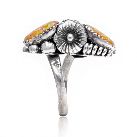 Flower and Leaf Opal .925 Sterling Silver Certified Authentic Navajo Native American Handmade Adjustable Ring 26208-0 All Products NB15122322282122 26208-0 (by LomaSiiva)