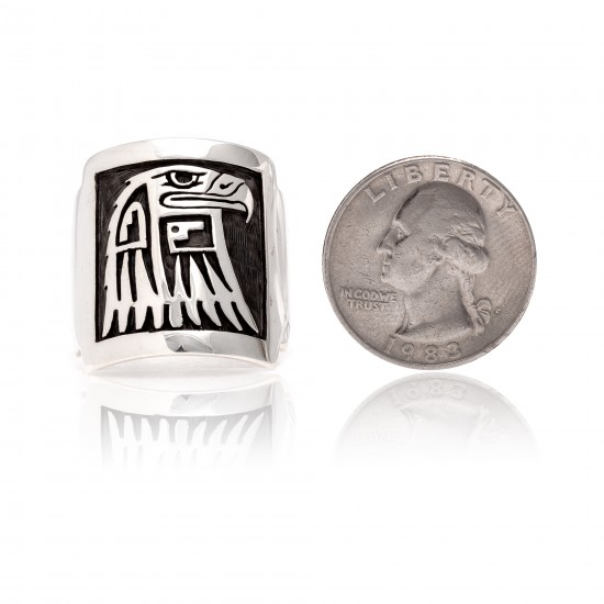 Eagle .925 Sterling Silver Certified Authentic Handmade Hopi Native American Ring 26232 All Products NB180623231242 26232 (by LomaSiiva)