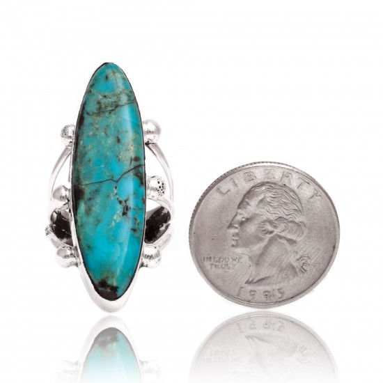 Natural Turquoise .925 Sterling Silver Certified Authentic Navajo Native American Handmade Ring 26235 All Products NB15122322282123 26235 (by LomaSiiva)