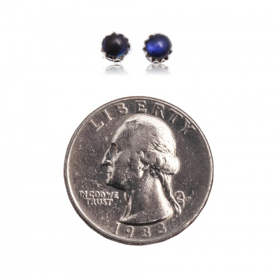 Delicate Blue Pearl Opal .925 Sterling Silver Certified Authentic Navajo Native American Handmade Stud Earrings 27104-141 All Products NB27104-142 27104-141 (by LomaSiiva)