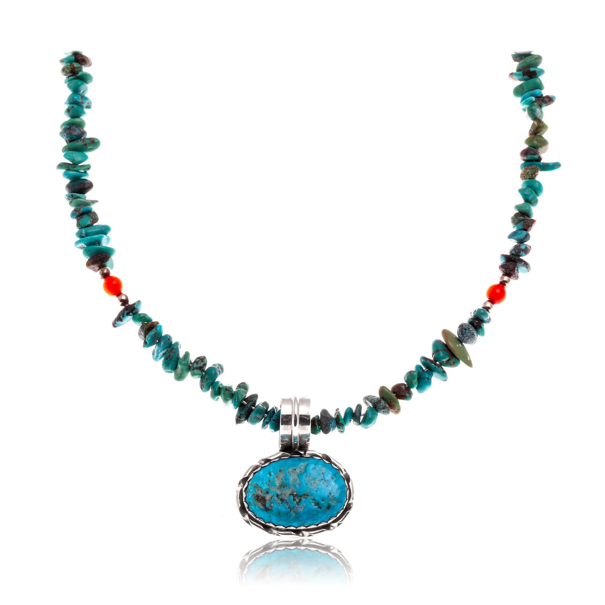 Natural Turquoise .925 Sterling Silver Certified Authentic Navajo Native American Handmade Necklace and Pendant 370989696233 All Products NB370989696233 370989696233 (by LomaSiiva)