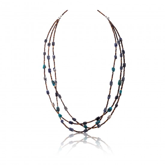 3 Strand .925 Sterling Silver Certified Authentic Navajo Native American Turquoise and Lapis Necklace 371029683838 Clearance 18110-4 371029683838 (by LomaSiiva)