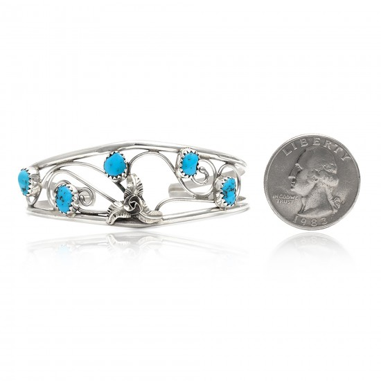 Flower .925 Sterling Silver Certified Authentic Handmade Navajo Native American Natural Arizona Sleeping Beauty Turquoise Cuff Bracelet 12947-2 All Products NB151223182937 12947-2 (by LomaSiiva)