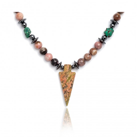 Arrowhead .925 Sterling Silver Certified Authentic Navajo Native American Jasper Turquoise Necklace and Pendant 371043557891 All Products 15891-4 371043557891 (by LomaSiiva)