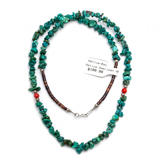 .925 Sterling Silver Certified Authentic Navajo Native American Natural Turquoise and Coral Chain Necklace 371101945516 All Products 15917-15 371101945516 (by LomaSiiva)