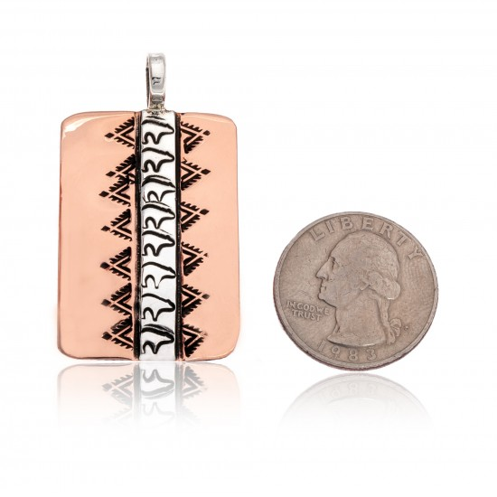 Bear .925 Sterling Silver Pure Copper Certified Authentic Handmade Navajo Native American Pendant 17033 Pendants NB151231220533 17033 (by LomaSiiva)