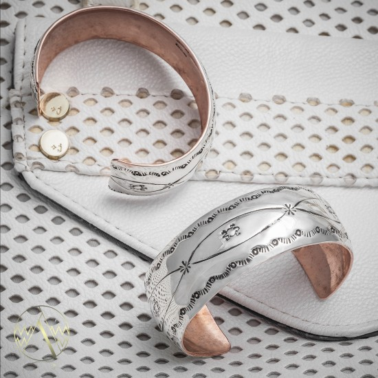 Horny Toad .925 Sterling Silver Pure Copper Certified Authentic Handmade Wide Rare Navajo Native American Cuff Bracelet 24493-1 Clearance NB160406042338 24493-1 (by LomaSiiva)