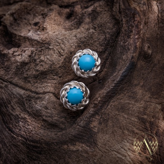 Delicate .925 Sterling Silver Certified Authentic Handmade Navajo Native American Natural Turquoise Stud Earrings  27228 All Products NB160303234932 27228 (by LomaSiiva)