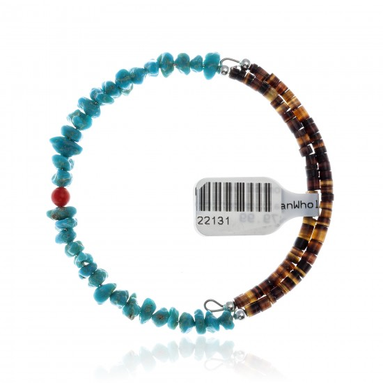 Natural Turquoise and Coral Certified Authentic Navajo Native American Adjustable Wrap Bracelet 22131 All Products 371183569150 22131 (by LomaSiiva)
