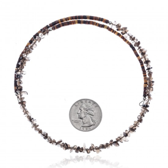 Smoky Quartz Certified Authentic Navajo Native American Adjustable Choker Wrap Necklace 25576 All Products NB180926223246 25576 (by LomaSiiva)