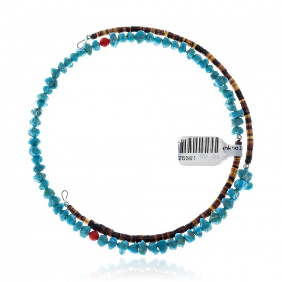 Natural Turquoise and Coral Certified Authentic Navajo Native American Adjustable Choker Wrap Necklace 25581 All Products NB180926223251 25581 (by LomaSiiva)