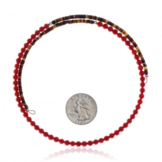 Coral and Natural Turquoise Certified Authentic Navajo Native American Adjustable Choker Wrap Necklace 25582 All Products NB180926223252 25582 (by LomaSiiva)