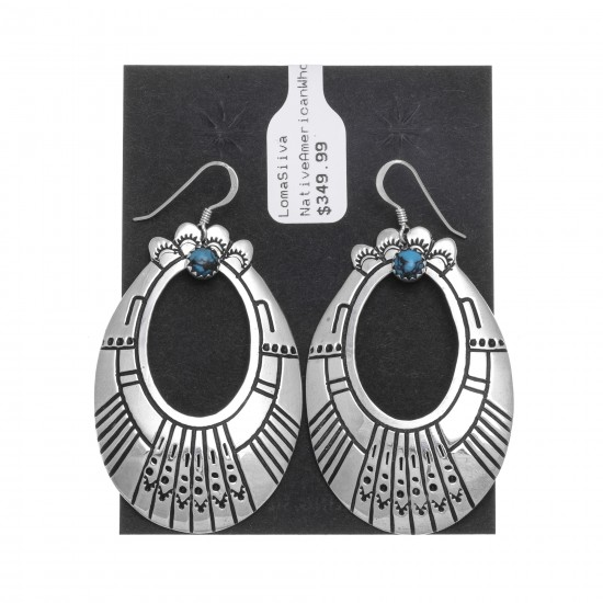 Natural Turquoise .925 Sterling Silver Certified Authentic Navajo Native American Handmade Dangle Earrings 27215-1 All Products NB181212223031 27215-1 (by LomaSiiva)