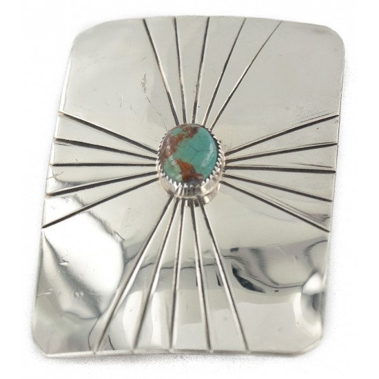 Certified Authentic Handmade Navajo Nickel Natural Turquoise Native American Buckle 12959-2 All Products NB160130175549 12959-2 (by LomaSiiva)