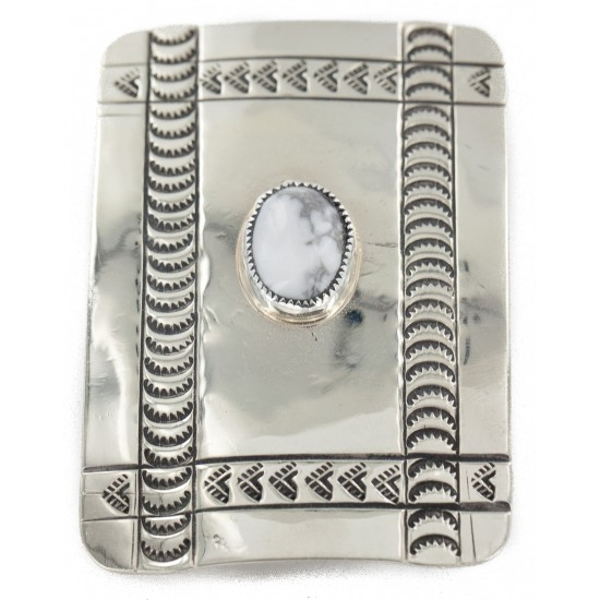 Certified Authentic Handmade Navajo Nickel White Howlite Native American Buckle 12960 All Products NB160130175852 12960 (by LomaSiiva)