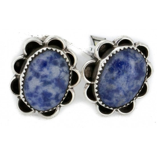 Handmade Certified Authentic Navajo .925 Sterling Silver Natural Lapis Native American Cuff Links 19126 Cufflinks NB160130211247 19126 (by LomaSiiva)