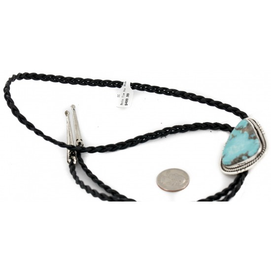 Handmade Certified Authentic Navajo .925 Sterling Silver Natural Turquoise Native American Bolo Tie 24479-1 All Products NB160130215027 24479-1 (by LomaSiiva)