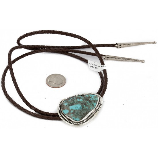 Handmade Certified Authentic Navajo .925 Sterling Silver Natural Turquoise Native American Bolo Tie 24479-2 All Products NB160130215557 24479-2 (by LomaSiiva)