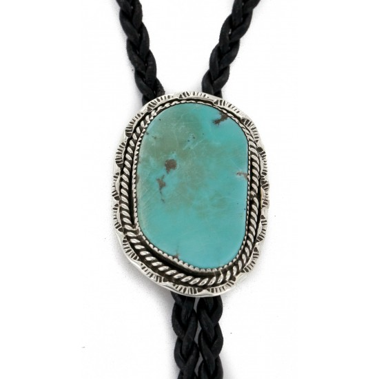 Handmade Certified Authentic Navajo .925 Sterling Silver Natural Turquoise Native American Bolo Tie 24481 All Products NB160130214306 24481 (by LomaSiiva)