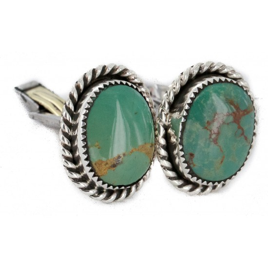 Handmade Certified Authentic Navajo .925 Sterling Silver Natural Turquoise Native American Cuff Links 19123 Cufflinks NB160130205239 19123 (by LomaSiiva)
