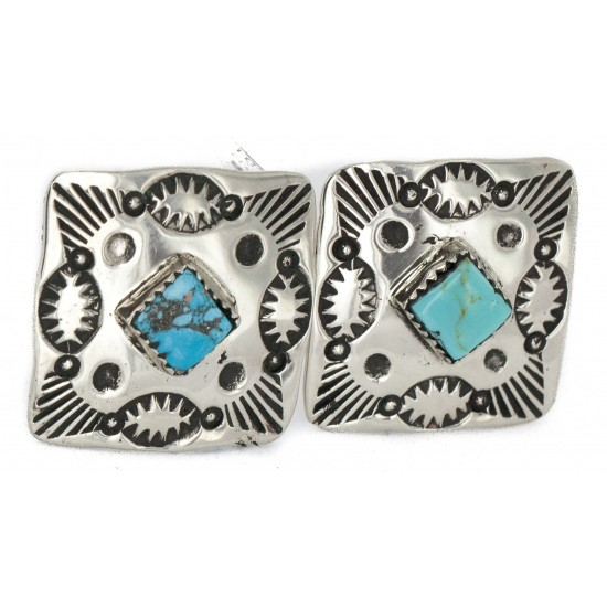 Handmade Certified Authentic Navajo Nickel Natural Turquoise Native American Cuff Links 19127 Cufflinks NB160130210721 19127 (by LomaSiiva)