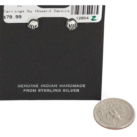 Bear Paw Handmade Certified Authentic Hopi .925 Sterling Silver Stud Native American Earrings 12854-2 All Products NB160208192124 12854-2 (by LomaSiiva)