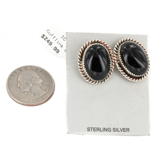 Handmade Certified Authentic Navajo .925 Sterling Silver Natural Black Onyx Native American Cuff Links 19128-2 Cufflinks NB160207075949 19128-2 (by LomaSiiva)