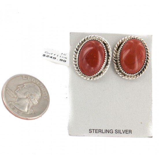 Handmade Certified Authentic Navajo .925 Sterling Silver Natural Red Jasper Native American Cuff Links 19128-1 Cufflinks NB160207080508 19128-1 (by LomaSiiva)