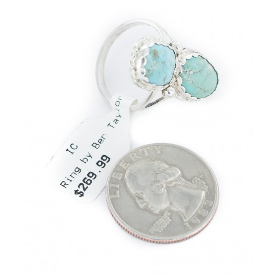 .925 Sterling Silver Handmade Certified Authentic Navajo Natural Turquoise Native American Ring 18187-11 All Products NB160210072732 18187-11 (by LomaSiiva)