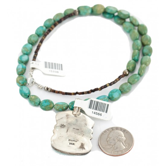 .925 Sterling Silver Certified Authentic Navajo Turquoise Native American Necklace 14566-5-15338 All Products NB160212185246 14566-5-15338 (by LomaSiiva)