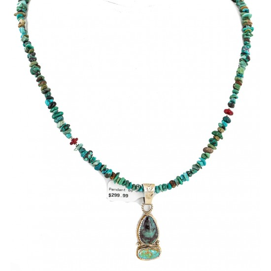 .925 Sterling Silver Certified Authentic Navajo Natural Turquoise Coral Native American Necklace 18190-1-1601 All Products NB160212192536 18190-1-1601 (by LomaSiiva)