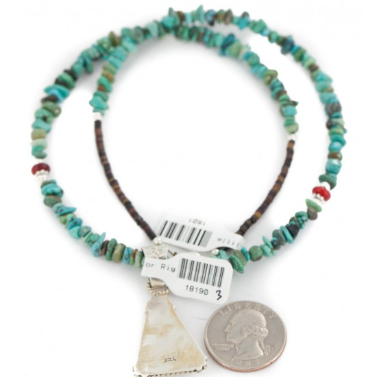 .925 Sterling Silver Certified Authentic Navajo Natural Turquoise Coral Native American Necklace 18190-3-1601 All Products NB160212193738 18190-3-1601 (by LomaSiiva)