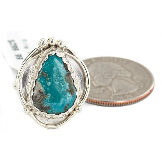 .925 Sterling Silver Handmade Certified Authentic Navajo Natural Turquoise # 8 Native American Ring 18188-1 All Products NB160212201912 18188-1 (by LomaSiiva)