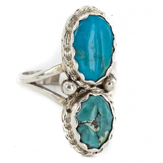 Navajo .925 Sterling Silver Handmade Certified Authentic Turquoise Native American Ring 18187-10 All Products NB160212205131 18187-10 (by LomaSiiva)