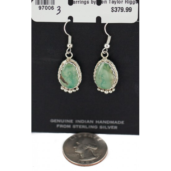 Certified Authentic Handmade .925 Sterling Silver Navajo Natural Turquoise Native American Dangle Earrings  97006-3 All Products NB160220215650 97006-3 (by LomaSiiva)