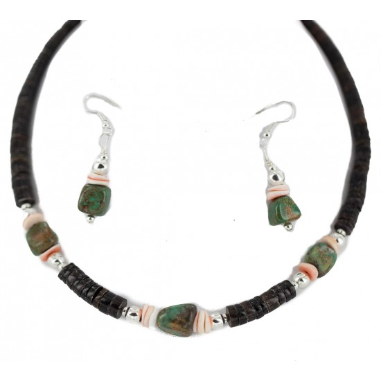 .925 Sterling Silver Hooks Certified Authentic Navajo Natural Turquoise and Graduated Heishi Native American Set 95006-2-97009-2 Sets NB160220224147 95006-2-97009-2 (by LomaSiiva)