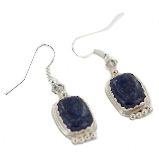 Certified Authentic Handmade Navajo .925 Sterling Silver Natural Lapis Native American Dangle Earrings 97006-2 All Products NB160220205601 97006-2 (by LomaSiiva)