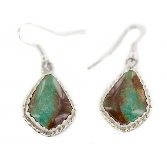 Certified Authentic Handmade Navajo .925 Sterling Silver Natural Turquoise Native American Dangle Earrings 97006-1 All Products NB160220214220 97006-1 (by LomaSiiva)