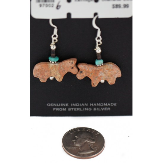 Certified Authentic Navajo Horse .925 Sterling Silver Hooks Natural Turquoise and Jasper Dangle Native American Earrings 97002-2 All Products NB160220183427 97002-2 (by LomaSiiva)