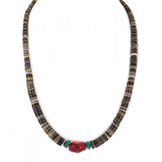 .925 Sterling Silver Certified Authentic Navajo Natural Turquoise Graduated Heishi Coral Native American Necklace 95004-10 Clearance NB160227221617 95004-10 (by LomaSiiva)