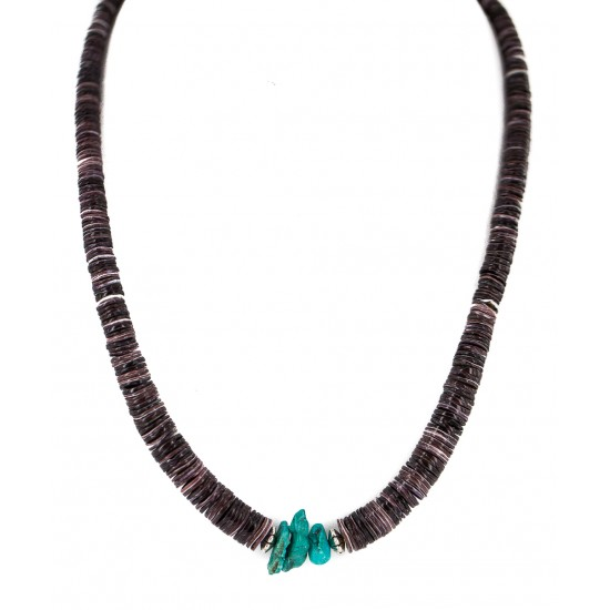 Navajo .925 Sterling Silver Certified Authentic Natural Turquoise Graduated Heishi Native American Necklace 95004-8 Clearance NB160227222415 95004-8 (by LomaSiiva)