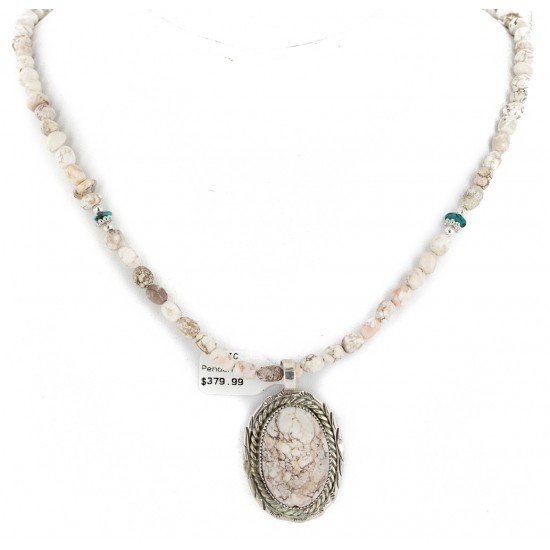 White Buffalo .925 Sterling Silver Certified Authentic Navajo Native American Handmade Necklace and Pendant 12924-2-25289 All Products NB151218000406 12924-2-25289 (by LomaSiiva)