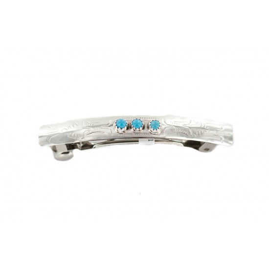 Handmade Certified Authentic Silver Navajo Natural Turquoise Native American Hair Barrette 10346-8 All Products NB160229234710 10346-8 (by LomaSiiva)