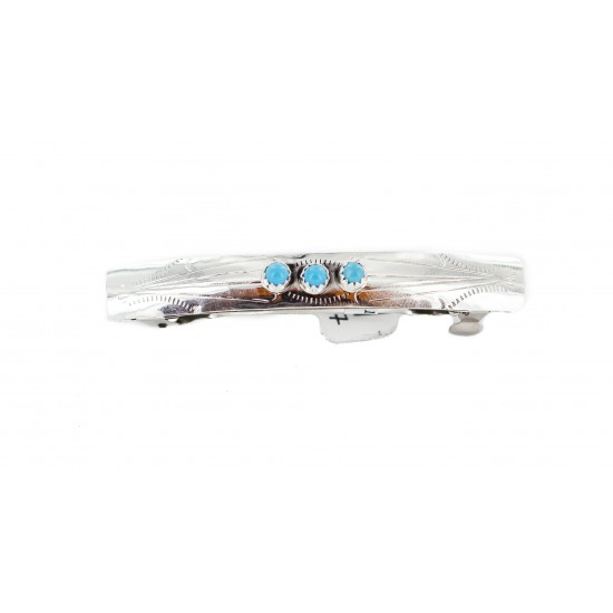 Handmade Silver Certified Authentic Navajo Natural Turquoise Native American Hair Barrette 10346-7 All Products NB160229235829 10346-7 (by LomaSiiva)