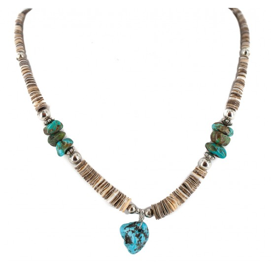 Navajo .925 Sterling Silver Certified Authentic Turquoise Graduated Heishi Native American Necklace 18195 All Products NB160301210901 18195 (by LomaSiiva)