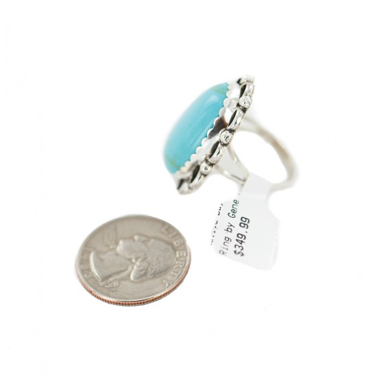 .925 Sterling Silver Navajo Certified Authentic Handmade Natural Turquoise Native American Ring size 8 1/2 18198-1 All Products NB160228042047 18198-1 (by LomaSiiva)