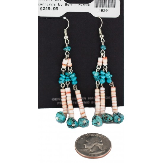 Handmade Certified Authentic Navajo .925 Sterling Silver Natural Turquoise Spiny Oyster Native American Dangle Earrings 18201 All Products NB160228043318 18201 (by LomaSiiva)