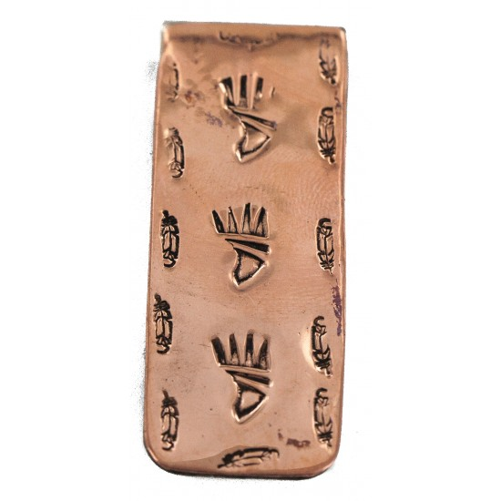 Navajo Certified Authentic Handmade Feather Bear Paw Pure Copper Native American Nickel Money Clip 11267-4 All Products NB160313231635 11267-4 (by LomaSiiva)
