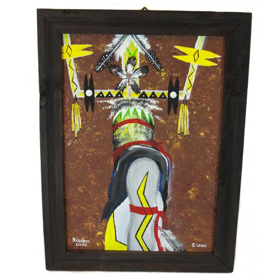 $300 Apache Certified Authentic Painted by Acrylic Apache Mesalero GA AN Native American Painting  10794-2 Painting NB160310215737 10794-2 (by LomaSiiva)